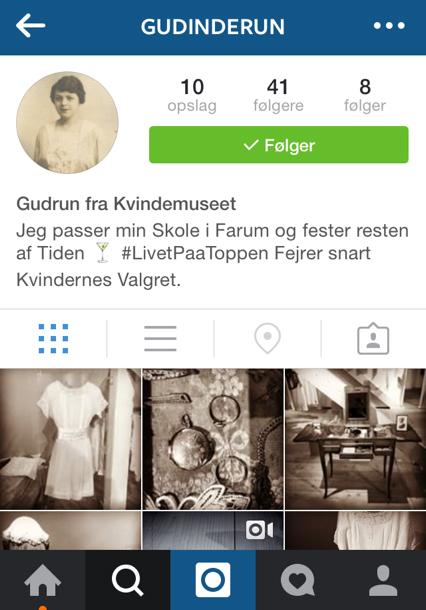 Guinderun - instagramprofil for en af kvinderne i Kvindemuseets udstilling Unge kvinder stemmer